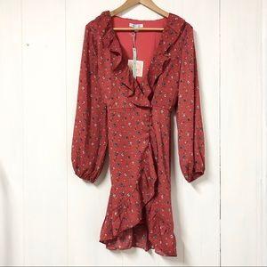 She + Sky Red Floral Boho Peasant Wrap Dress NWT
